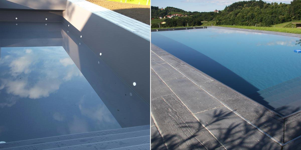 Isotec steirerpool folienfarben for Pool mit schwarzer folie