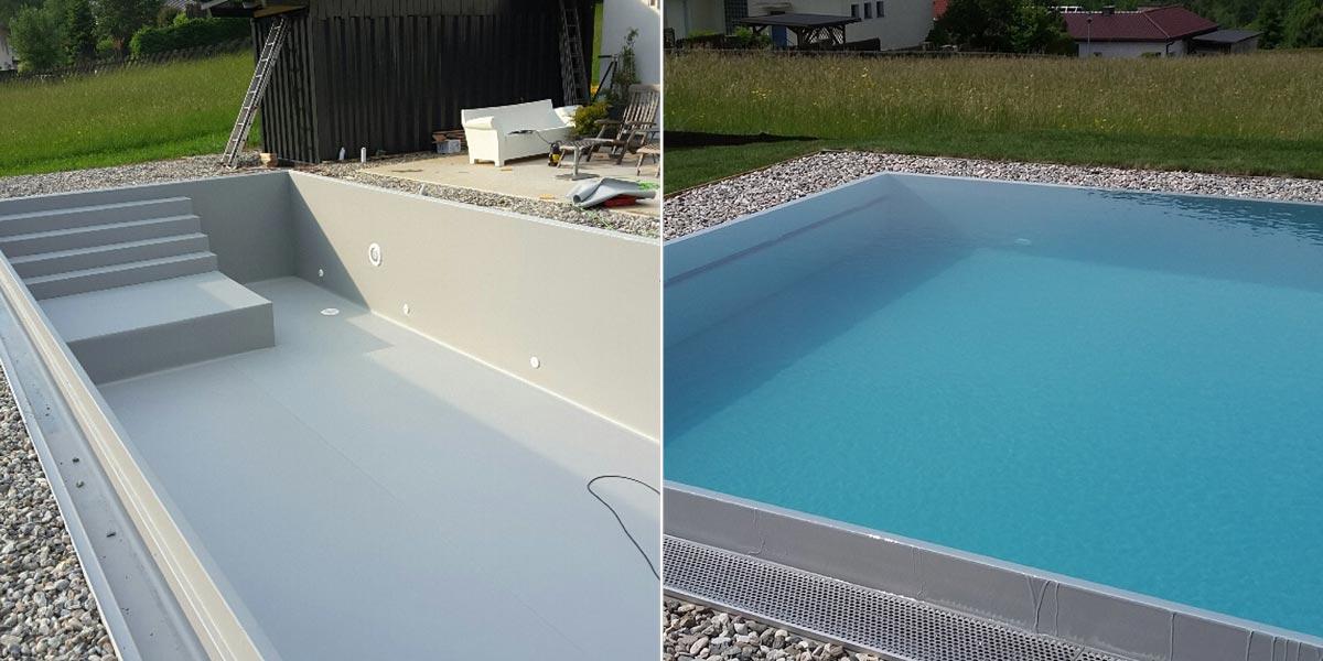 Isotec steirerpool folienfarben for Pool mit folie auskleiden